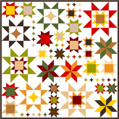 """Seeing Stars Quilt Along"" Free Quilt Pattern designed by Melissa Corry from Happy Quilting"