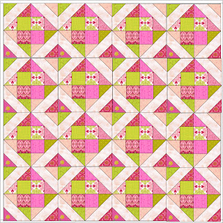 """The Original Happy Quilting Quilt-A-Long"" Free Quilt Pattern designed by Melissa Corry from Happy Quilting"