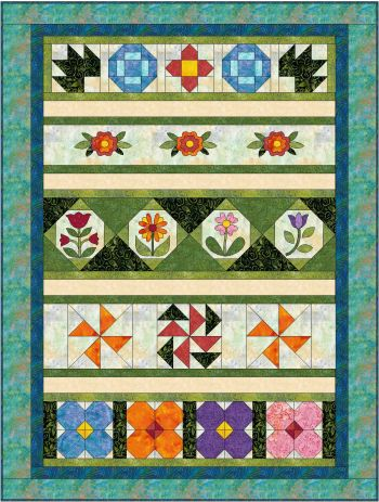 """Rosy Posy Rows Quilt"" Free Row of the Month Pattern designed by Jeanne R. Prue from Jeanne Rae Crafts"