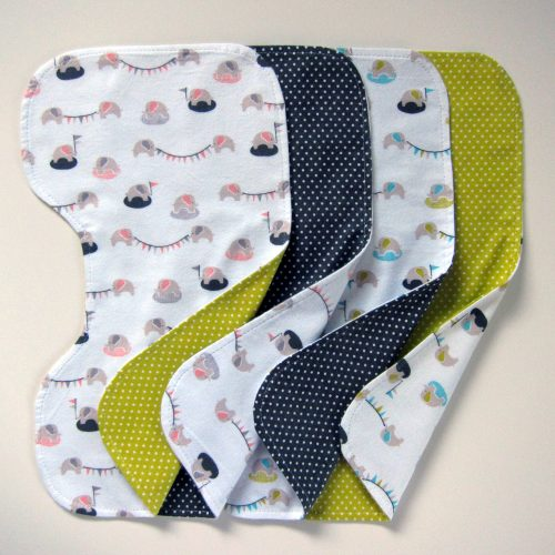 """Contoured Burp Cloths"" Free Quilted (or not) Gift Idea Pattern designed by Michelle Engel Bencsko from Cloud 9 Fabrics"