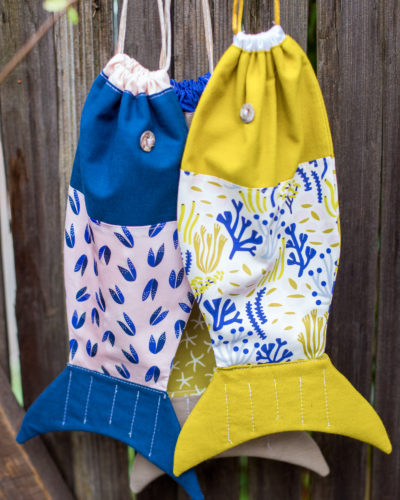 """Drawstring Fish Bag"" Free Quilted (or not) Gift Idea Pattern designed by Elizabeth Olwen from Cloud 9 Fabrics"