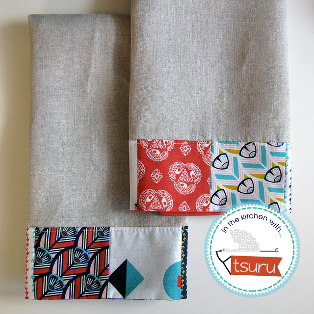 """""""Patchwork Bordered Dishtowels"""" Free Quilted (or not) Gift Idea Pattern designed by Tsuru from Cloud 9 Fabrics"""