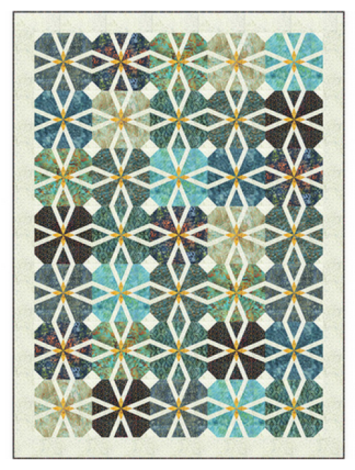 """Starlit Rose"" Free Thanksgiving Quilt Pattern designed by Wendy Sheppard from Anthology Fabrics"