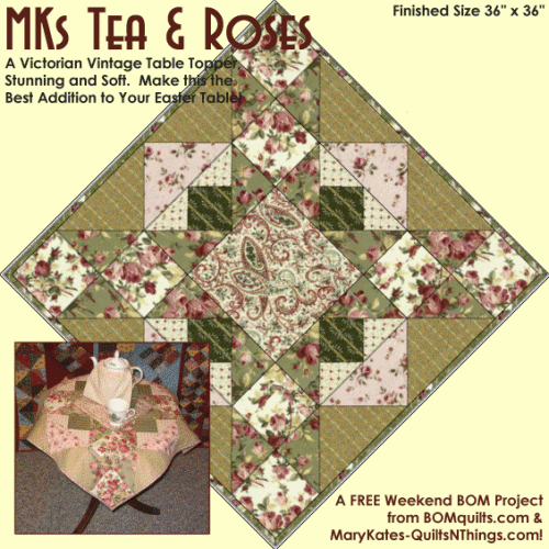 """""""Tea and Roses Table Topper"""" – an Original Design and Free Quilted Table Topper Pattern by TK Harrison, Owner of BOMquilts.com!"""