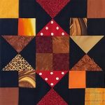 """Chained Star"" Quilt Block Made by Mel F. A Free Pattern for a 12"" quilt block at BOMquilts.com! Part of the 2020 ""Midnight Stargazer"" Block of the Month Quilt Pattern."