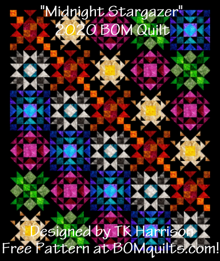 """Midnight Stargazer"" 2020 Free Block of the Month Quilt at BOMquilts.com! Designed by TK Harrison, Owner."