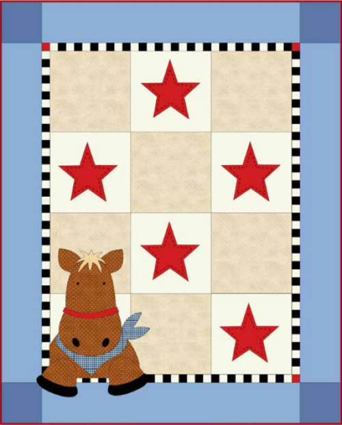 """Henry Horse"" Free Baby Quilt Pattern designed by Deb Grogan from Maywood Studio"