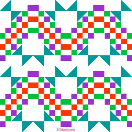 """""""Fruit Basket Lap Quilt"""" a Free """"Christmas in July 2020"""" Quilted Pattern. Designed by TK Harrison, Owner of BOMquilts.com!"""
