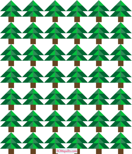 """Northern Pine Lap Quilt"" a Free ""Christmas in July 2020"" Quilted Pattern. Designed by TK Harrison, Owner of BOMquilts.com!"