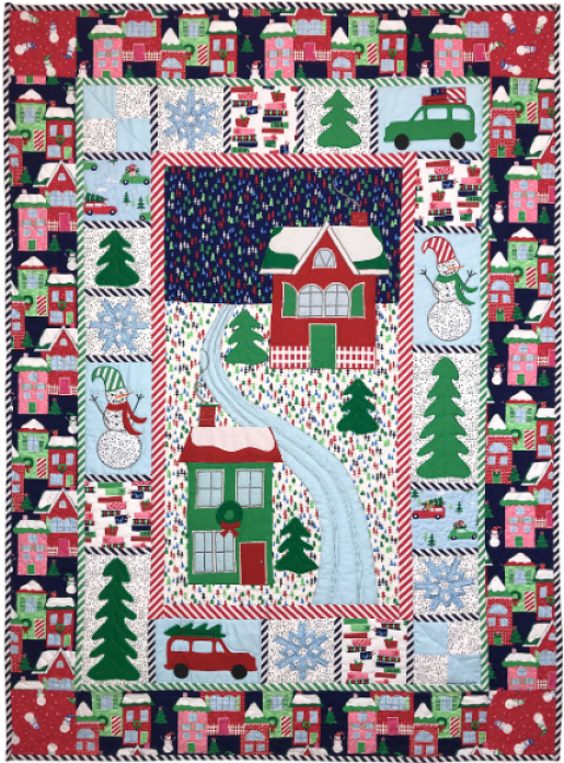 """Home for the Holidays"" a Free Christmas Pattern designed by Marinda Stewart from Michael Miller Fabrics"
