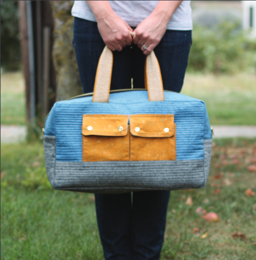 """Cargo Duffle"" Free Tote Bag Pattern designed by Noodlehead from Robert Kaufman"