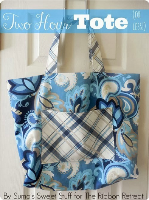 """Two Hour Tote (Or Less!)"" Free Tote Bag Pattern designed by Kathleen Dixon of Sumos Sweet Stuff from The Ribbon Retreat Blog"