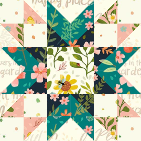 """Amish Star Quilt Block from the """"Graceful Garden"""" 2021 BOM Quilt! A Free Pattern Featured at BOMquilts.com!"""