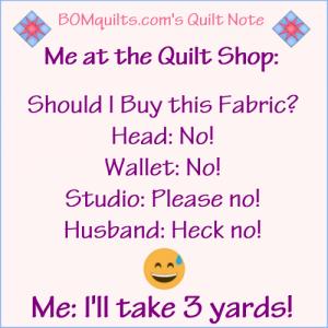 BOMquilts.com's Meme: Me at the quilt shop!