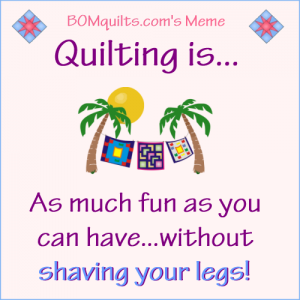 BOMquilts.com's Meme: Quilting is as much fun as...