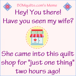 BOMquilts.com's Meme: Have you seen my wife?!