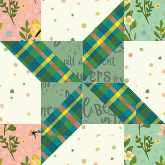 "Harry's Star Quilt Block One from the ""Graceful Garden"" 2021 BOM Quilt! A Free Pattern Featured at BOMquilts.com!"