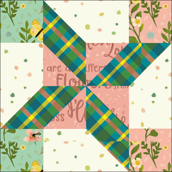 """Clay's Pinwheel Quilt Block One from the """"Graceful Garden"""" 2021 BOM Quilt! A Free Pattern Featured at BOMquilts.com!"""