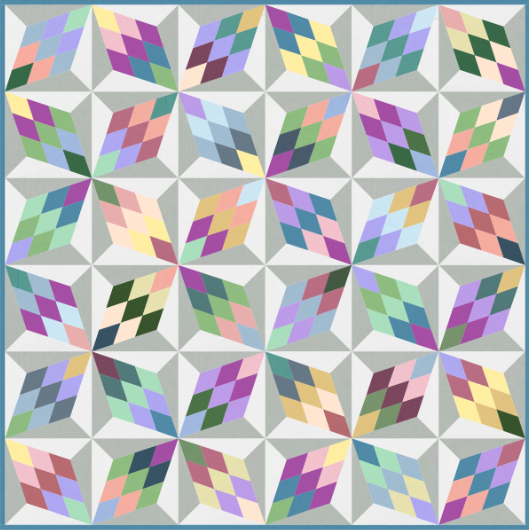 """""""Diamonds"""" Free Easter Quilt Pattern designed by Marsha Moore from Michael Miller Fabrics"""
