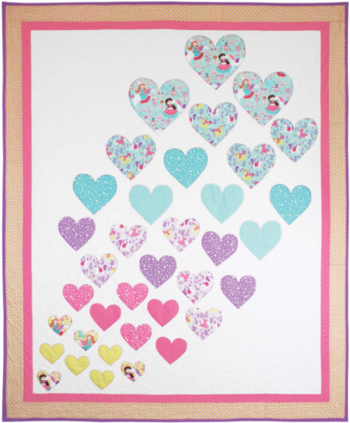 """Hearts a Flutter"" a Free Valentine's Day Quilt Pattern designed by Heidi Pridemore from Michael Miller Fabrics"