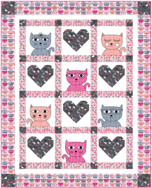 """Hipster Kitties"" a Free Valentine's Day Quilt Pattern designed by Heidi Pridemore from Michael Miller Fabrics"