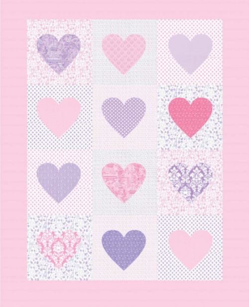 """I Heart Paris"" a Free Valentine's Day Quilt Pattern designed by Swirly Girl Designs from Michael Miller Fabrics"