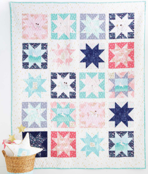 """""""Magic Stars 2"""" Free Easter Quilt Pattern designed by Sarah Jane of Peter Pan Designs from Michael Miller Fabrics"""