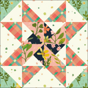 """Pinwheels & Stars Quilt Block Two from the """"Graceful Garden"""" 2021 BOM Quilt! A Free Pattern Featured at BOMquilts.com!"""