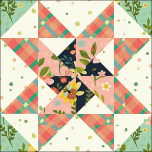 """Stars & Pinwheels Quilt Block from the """"Graceful Garden"""" 2021 BOM Quilt! A Free Pattern Featured at BOMquilts.com!"""