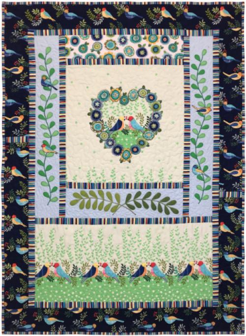 """Tweet Love"" a Free Valentine's Day Quilt Pattern designed by Marinda Stewart from Michael Miller Fabrics"