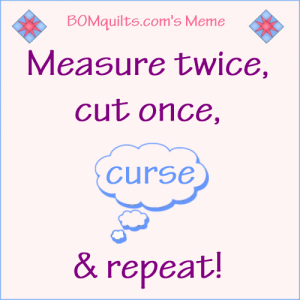BOMquilt's Meme: Measure twice...Cut once...