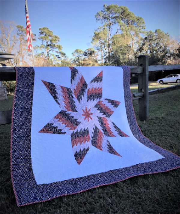 """Easy QOV Star"" Free Quilts of Valor (QOV) Pattern designed by Lanette Edens from The Quilting Gypsy"
