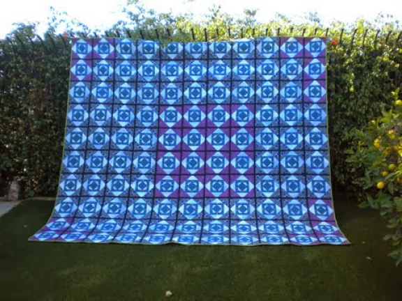 """""""Glowing Pineapple"""" Free QAYG Quilt Pattern designed by Sylvia Q. Davis but made by Janet from California Quilting"""