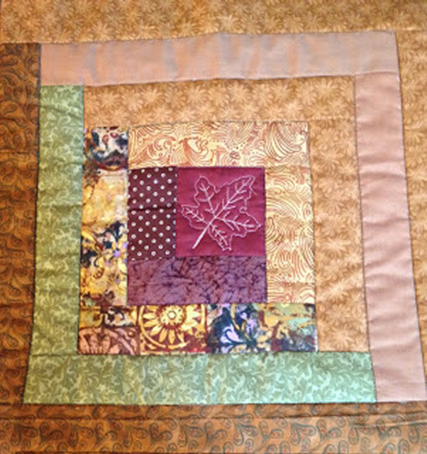 """""""Joining Quilted Log Cabin Blocks"""" Free QAYG Quilt Pattern designed by Janis P. from Jan Piersons"""