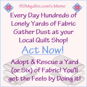 BOMquilt's Meme: Act Now! Rescue the Fabric so it's Not Lonely Anymore!