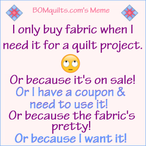BOMquilt's Meme: I only buy fabric because...!