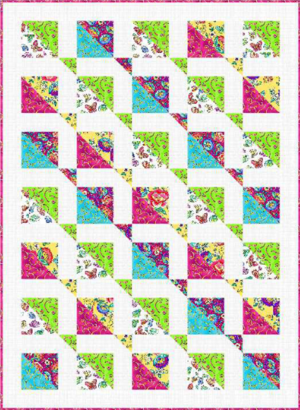 """""""Dazzling Delight"""" a Free Summer Quilt Pattern designed by Tailormade by Desing from Benartex"""