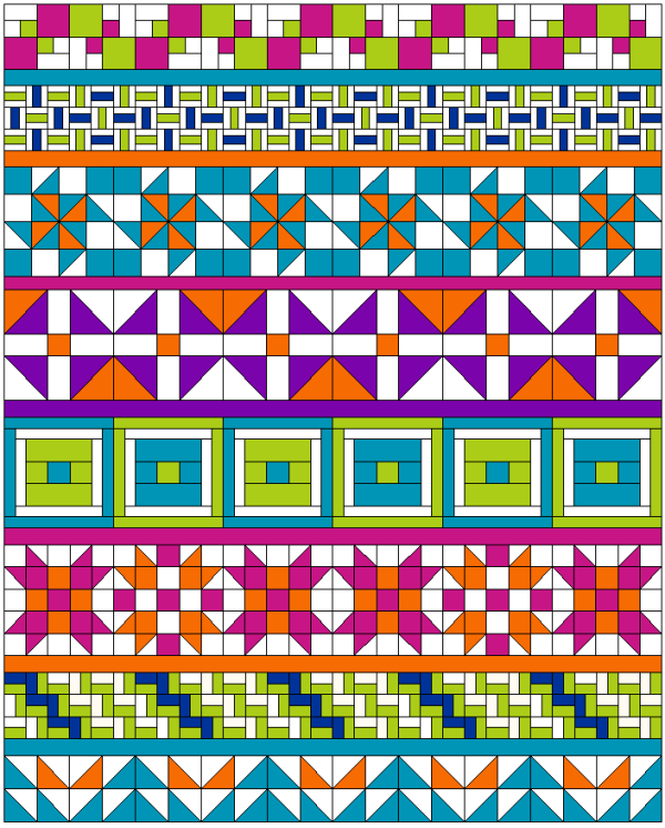 """Show Row"" a Free Row of the Month (or Row) Quilt Pattern designed by the American Quilter's Society from AQS Blog"