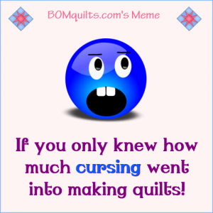 BOMquilt's meme: Have you ever heard of a quilter who doesn't curse? If you haven't then you haven't been around a *real* quilter!