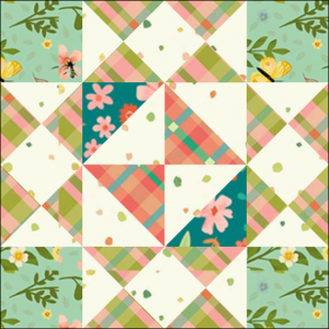 """Girl's Favorite Quilt Block from the """"Graceful Garden"""" 2021 BOM Quilt! A Free Pattern Featured at BOMquilts.com!"""