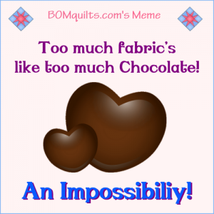 BOMquilts.com's meme: Too much chocolate vs. too much fabric? Did I hear you correctly? You've got to be kidding me! Does anyone else feel the same?