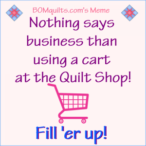Why go to a quilt shop & not use a cart? They're right there by the door which makes it easier than ever! Makes no sense to me! What about you? Do you feel the same?