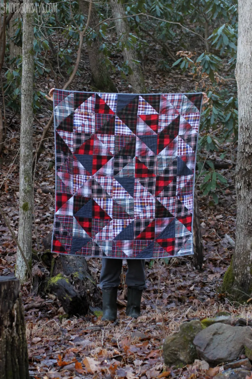 """""""How to Upcycle Flannel Shirts into a Cozy Quilt"""" a Free Flannel Quilt Pattern designed by Stephanie from Swoodson Says"""
