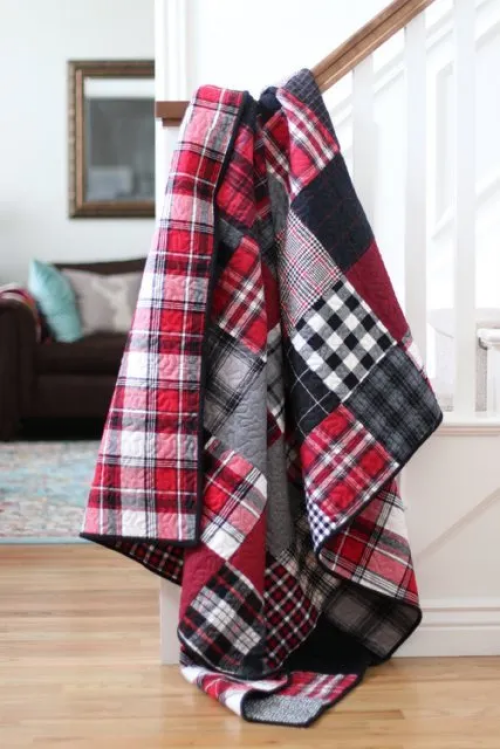 """""""Flannel Plaid Patchwork"""" a Free Flannel Quilt Pattern designed by Amy Smart from Diary of a Quilter"""