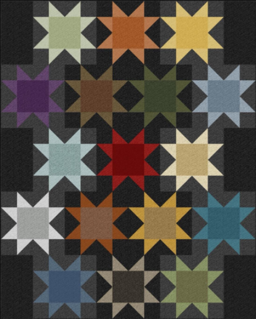"""""""Midnight Flowers"""" a Free Flannel Quilt Pattern designed by Cheryl Haynes from Benartex"""