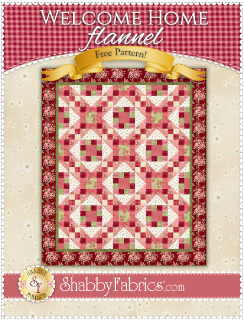"""""""Welcome Home"""" a Free Flannel Quilt Pattern designed by Shabby Fabrics from Maywood Studio"""