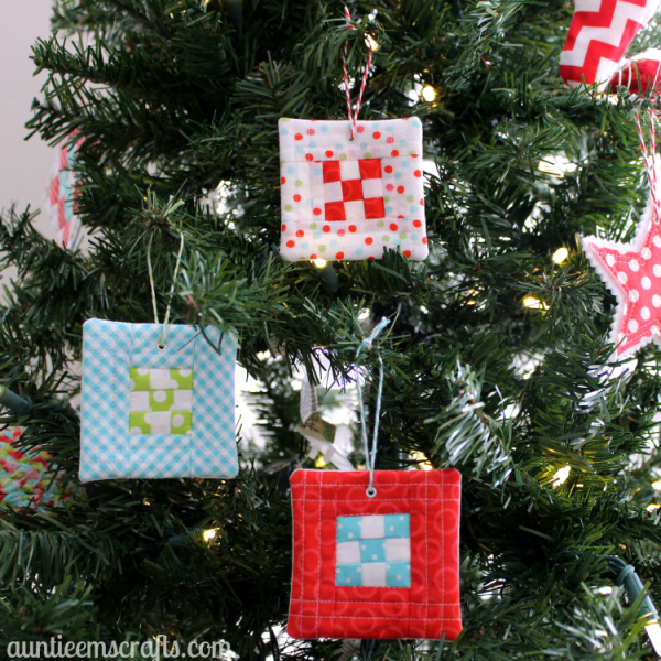 """""""9 Patch Quilt Block Ornament"""" is a Free Quilted Christmas Ornament Pattern designed by Emily from Auntie Em's Crafts"""