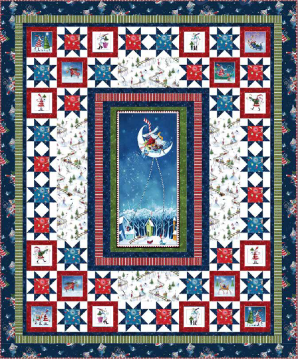 """""""Merry Stars"""" is a Free Christmas Quilt Pattern designed by Nancy Mahoney from P & B Textiles"""