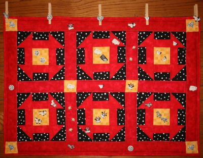 Hole in the Barn Door Button Escape designed by BOMquilts.com with Embellishments from Button Mad
